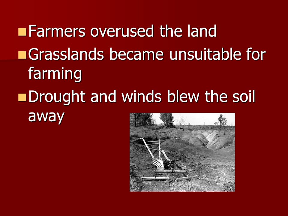 Farmers overused the land Farmers overused the land Grasslands became unsuitable for farming Grasslands became unsuitable for farming Drought and winds blew the soil away Drought and winds blew the soil away