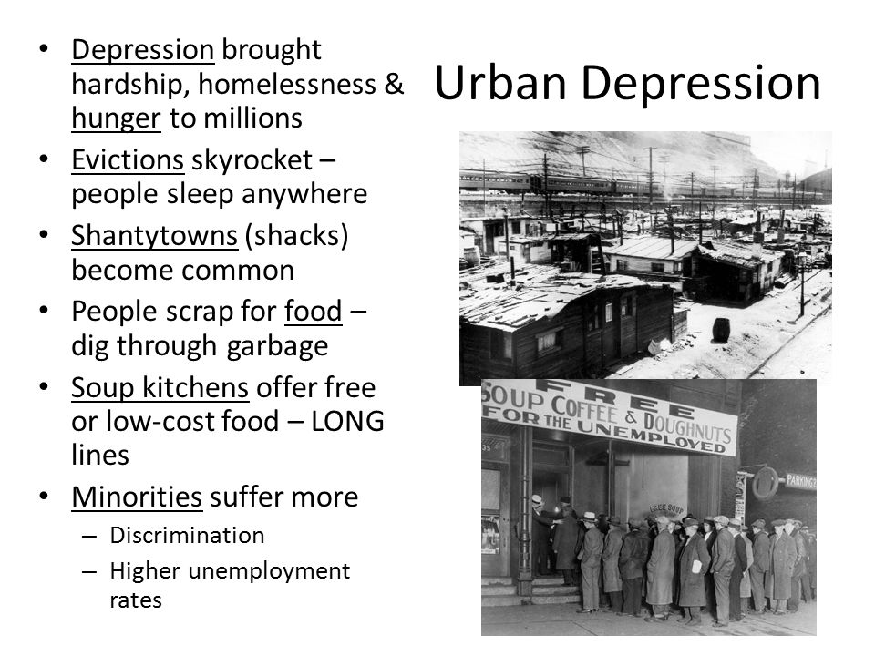 Urban Depression Depression brought hardship, homelessness & hunger to millions Evictions skyrocket – people sleep anywhere Shantytowns (shacks) becom