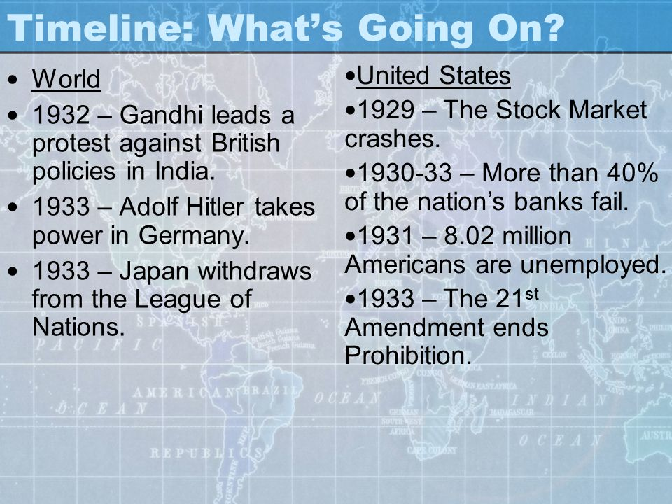 Timeline: What's Going On? World 1932 – Gandhi leads a protest against British policies in India. 1933 – Adolf Hitler takes power in Germany. 1933 – J