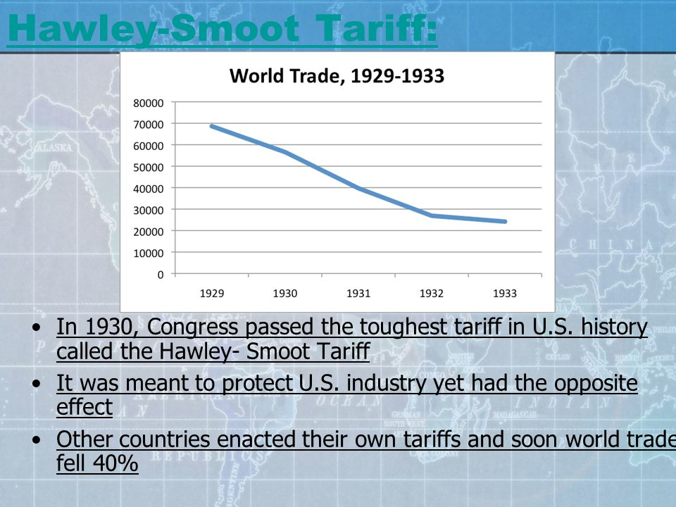 Hawley-Smoot Tariff: In 1930, Congress passed the toughest tariff in U.S. history called the Hawley- Smoot Tariff It was meant to protect U.S. industr