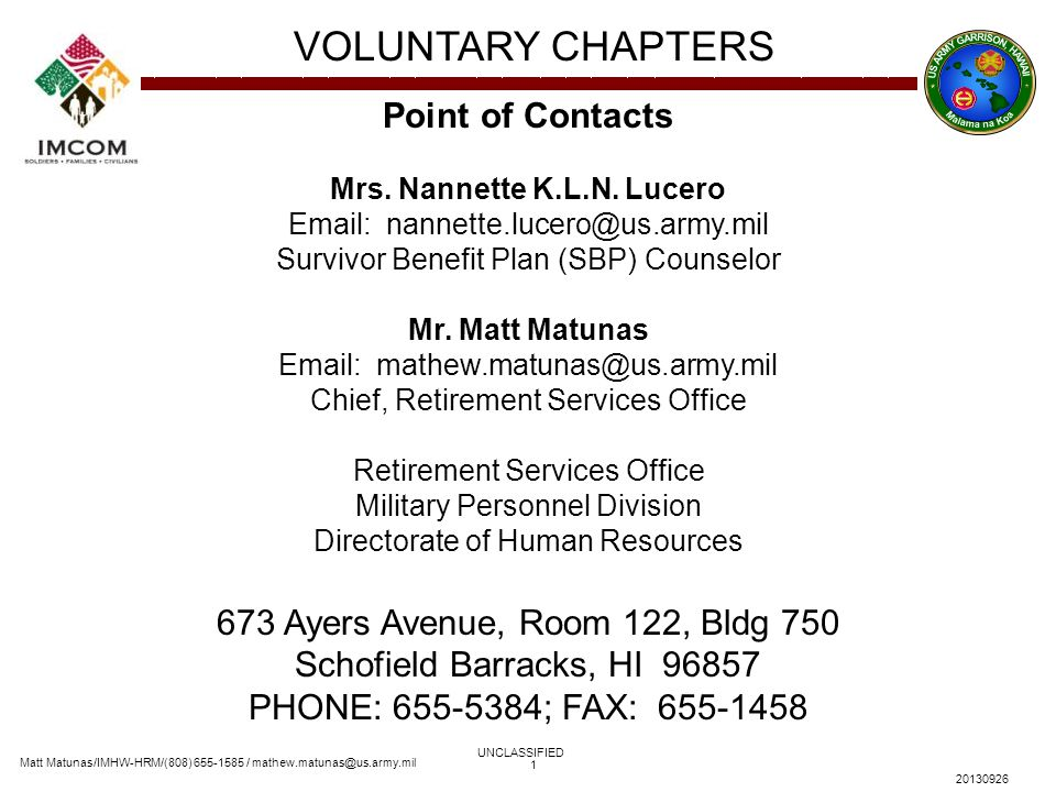Matt Matunas/IMHW-HRM/(808) 655-1585 / mathew.matunas@us.army.mil VOLUNTARY CHAPTERS UNCLASSIFIED 20130926 1 Point of Contacts Mrs. Nannette K.L.N. Lu