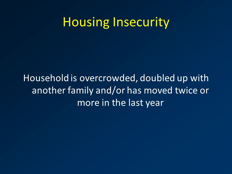 Housing Insecurity Household is overcrowded, doubled up with another family and/or has moved twice or more in the last year