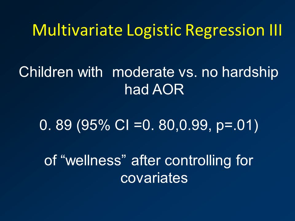 "Multivariate Logistic Regression III Children with moderate vs. no hardship had AOR 0. 89 (95% CI =0. 80,0.99, p=.01) of ""wellness"" after controlling"