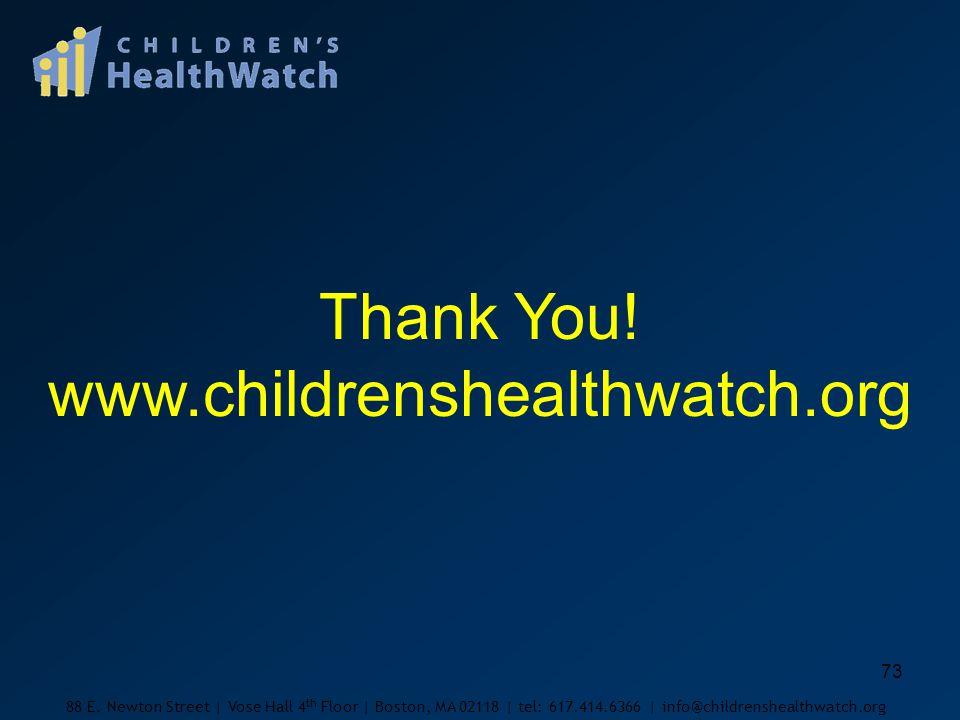 73 Thank You. www.childrenshealthwatch.org 88 E.