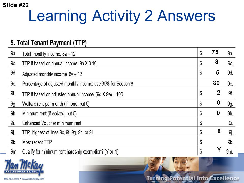 Slide #22 Learning Activity 2 Answers 75 8 2 8 Y 5 30 0 0