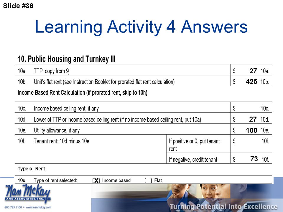 Slide #36 Learning Activity 4 Answers 27 73 27 X 425 100