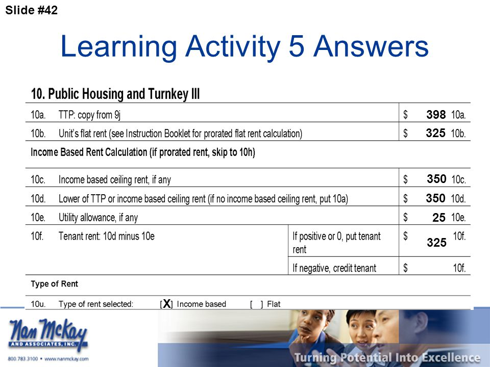 Slide #42 Learning Activity 5 Answers 398 325 350 X 325 25