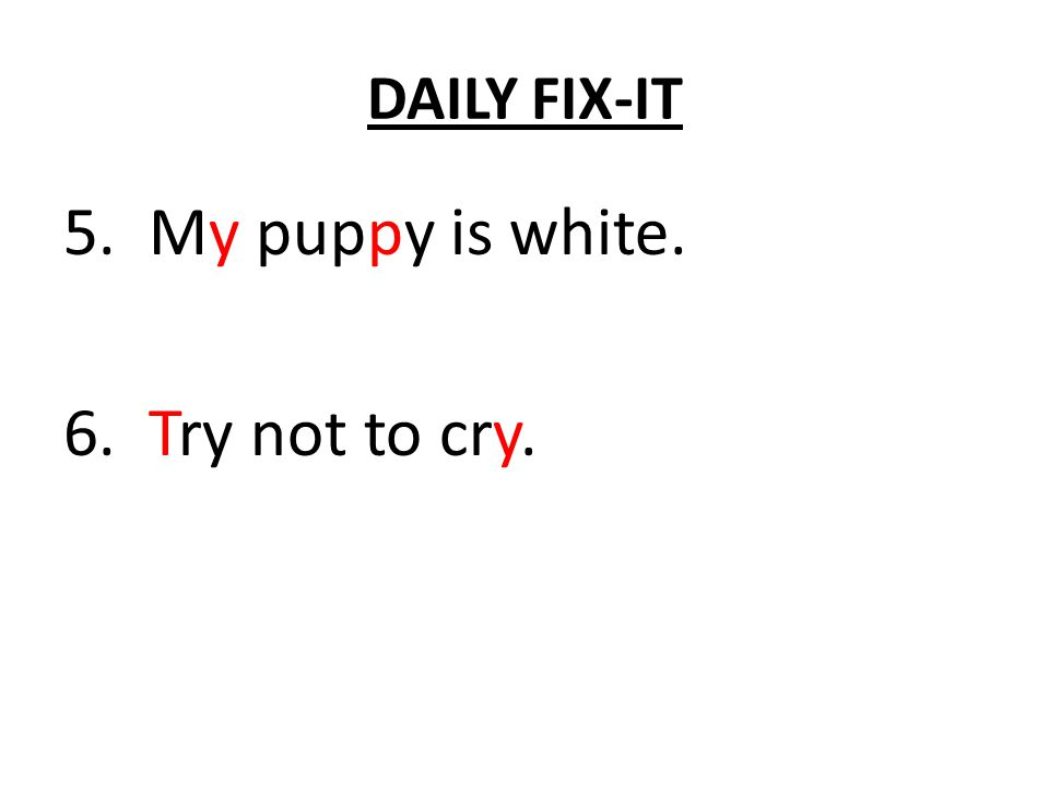 DAILY FIX-IT 5. Mi pupy is white. 6. try not to cri.