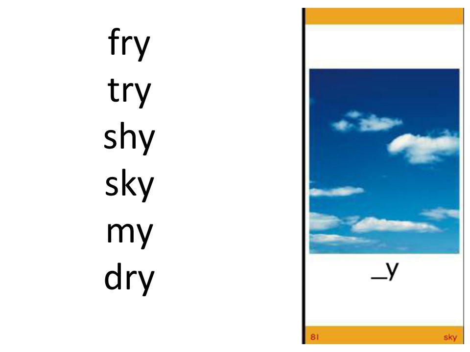 fry try shy sky my dry