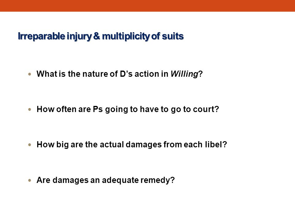 Irreparable injury & multiplicity of suits What is the nature of D's action in Willing.