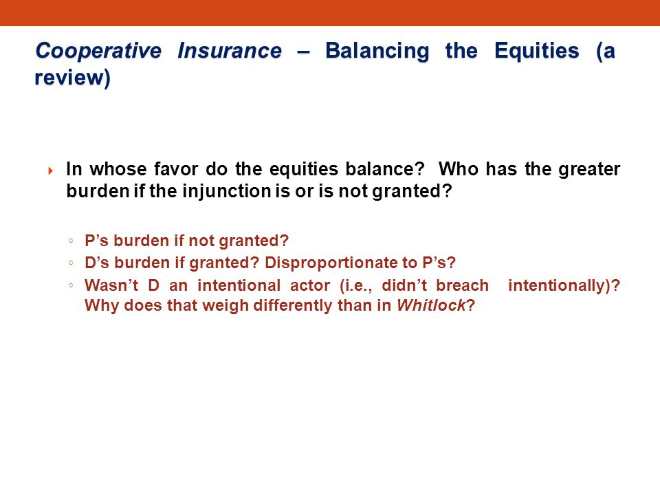Cooperative Insurance – Balancing the Equities (a review)  In whose favor do the equities balance.