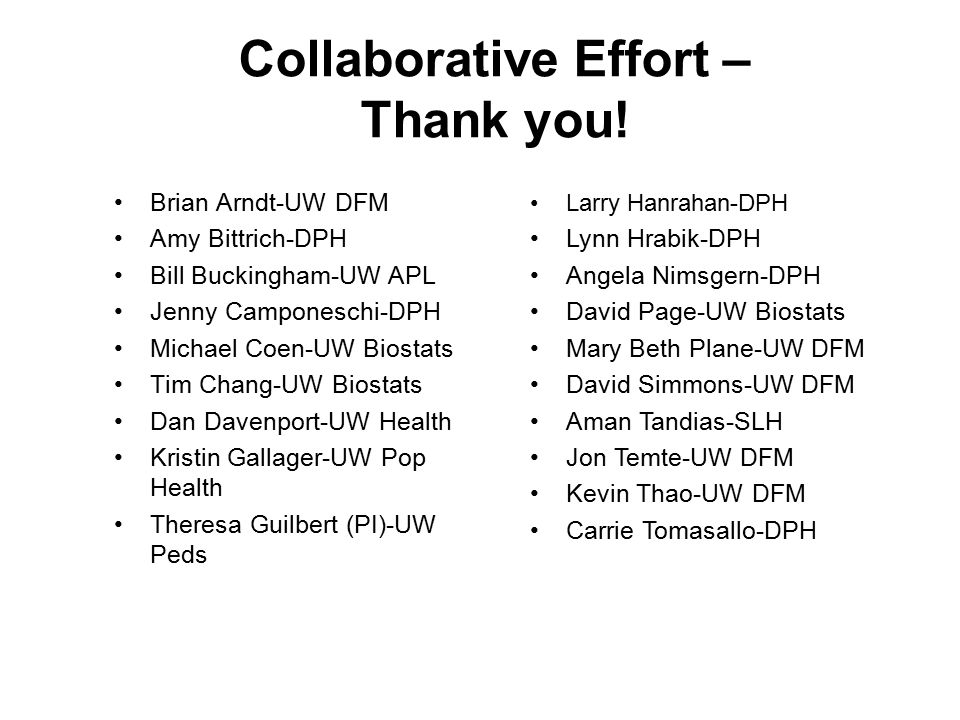 Collaborative Effort – Thank you.