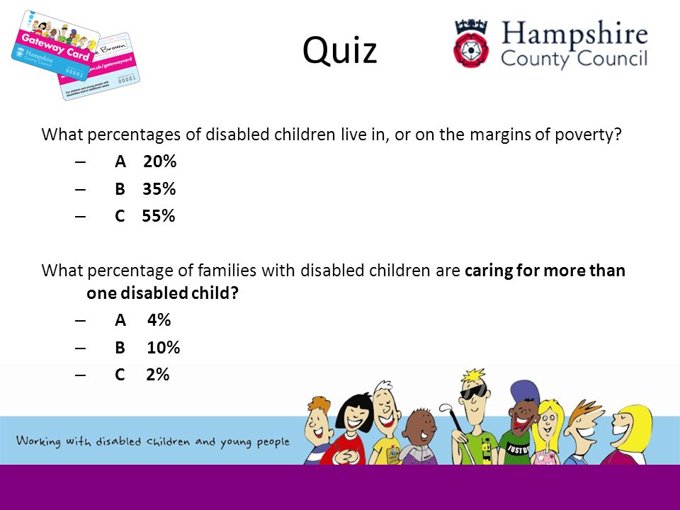 Quiz What percentages of disabled children live in, or on the margins of poverty.