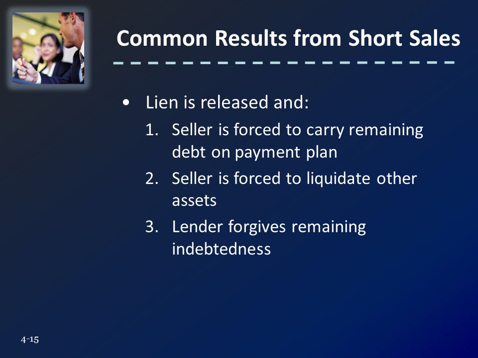 Common Results from Short Sales 4-15 Lien is released and: 1.Seller is forced to carry remaining debt on payment plan 2.Seller is forced to liquidate other assets 3.Lender forgives remaining indebtedness