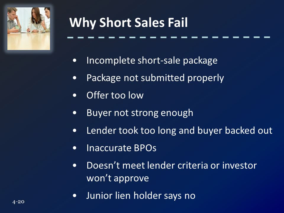 Why Short Sales Fail 4-20 Incomplete short-sale package Package not submitted properly Offer too low Buyer not strong enough Lender took too long and buyer backed out Inaccurate BPOs Doesn't meet lender criteria or investor won't approve Junior lien holder says no