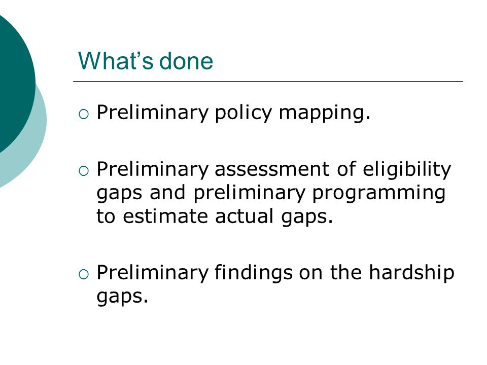 What's done  Preliminary policy mapping.