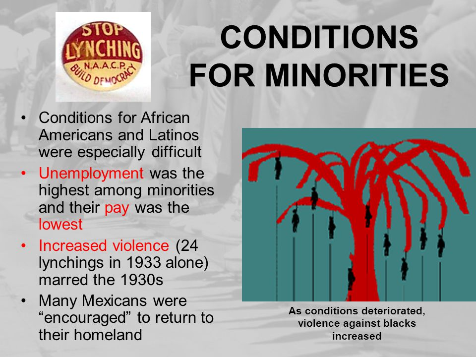 CONDITIONS FOR MINORITIES Conditions for African Americans and Latinos were especially difficult Unemployment was the highest among minorities and the