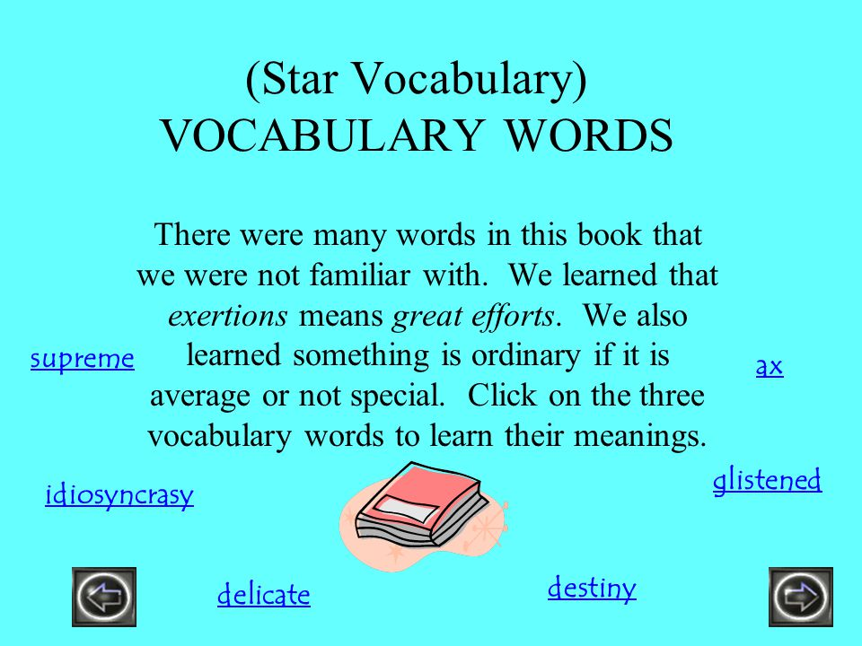 (Star Vocabulary) VOCABULARY WORDS There were many words in this book that we were not familiar with. We learned that exertions means great efforts. W