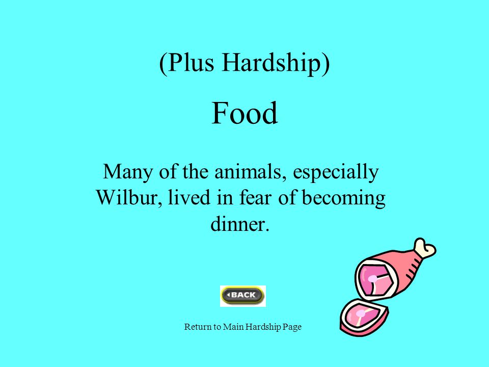 (Plus Hardship) Food Many of the animals, especially Wilbur, lived in fear of becoming dinner. Return to Main Hardship Page