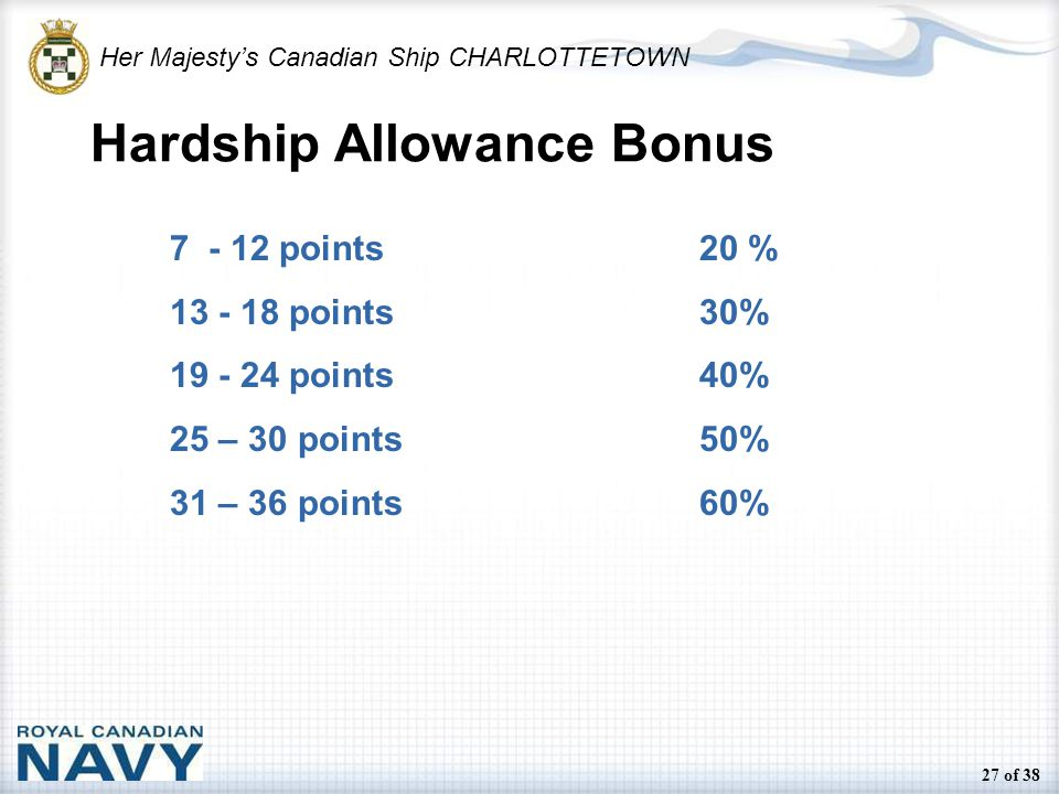 Her Majesty's Canadian Ship CHARLOTTETOWN 27 of 38 Hardship Allowance Bonus 7 - 12 points20 % 13 - 18 points30% 19 - 24 points40% 25 – 30 points50% 31 – 36 points60%