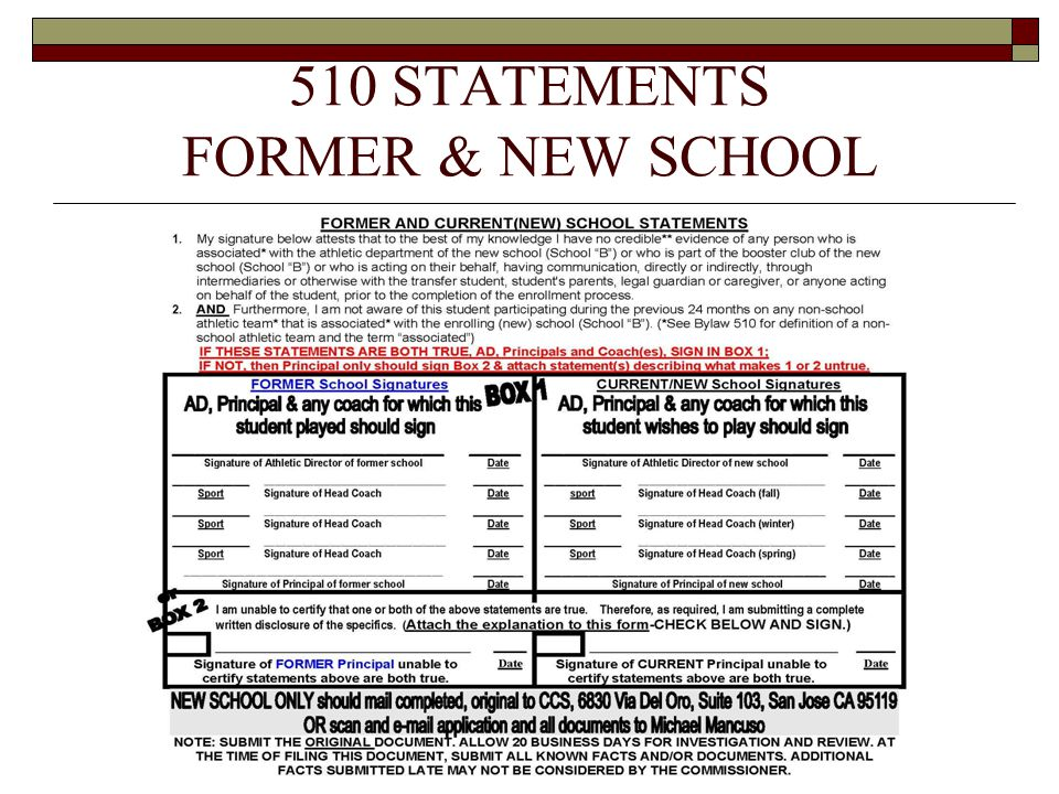 510 STATEMENTS FORMER & NEW SCHOOL