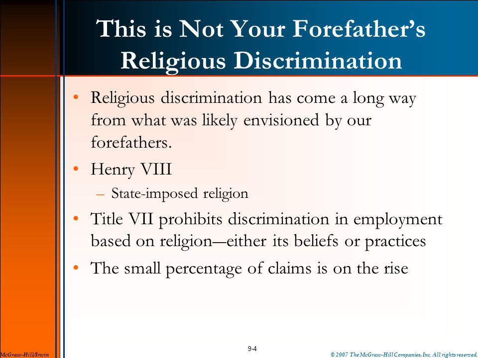 This is Not Your Forefather's Religious Discrimination Religious discrimination has come a long way from what was likely envisioned by our forefathers.