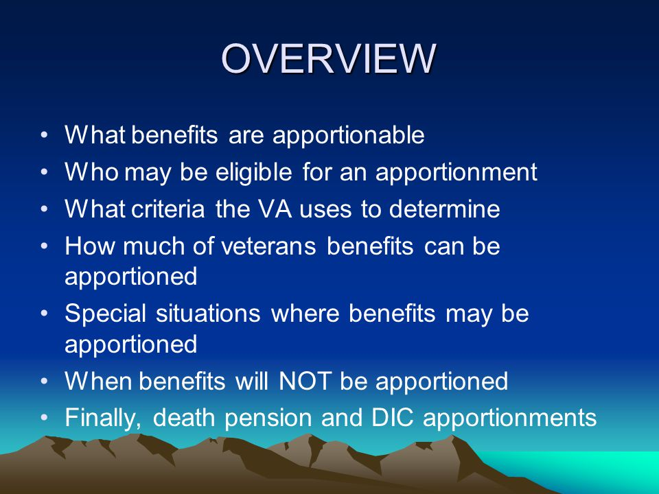 General 3.450 (a)(1) – All or any part of the pension, compensation, or emergency officers' retirement pay payable on account of any veteran may be apportioned.