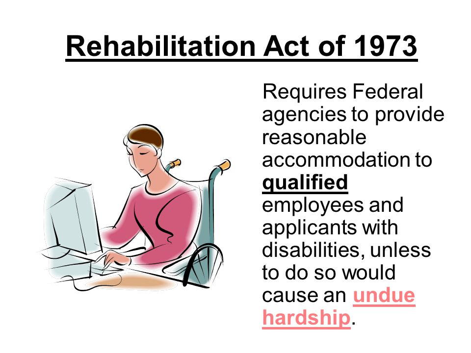 Americans With Disabilities Act (ADA) OF 1990 Title I of the ADA prohibits private employers, state and local governments, employment agencies and labor unions from discriminating against qualified individuals with disabilities in job application procedures, hiring, firing, advancement, compensation, job training, and other terms, conditions, and privileges of employment.
