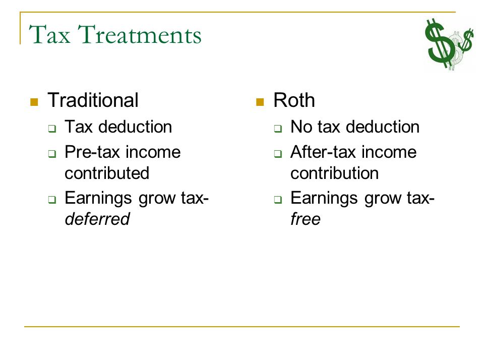 Tax Treatments Traditional  Tax deduction  Pre-tax income contributed  Earnings grow tax- deferred Roth  No tax deduction  After-tax income contribution  Earnings grow tax- free