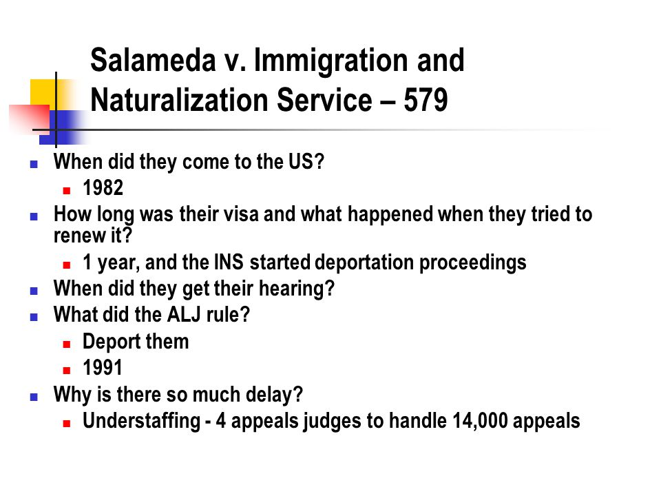 Salameda v. Immigration and Naturalization Service – 579 When did they come to the US.