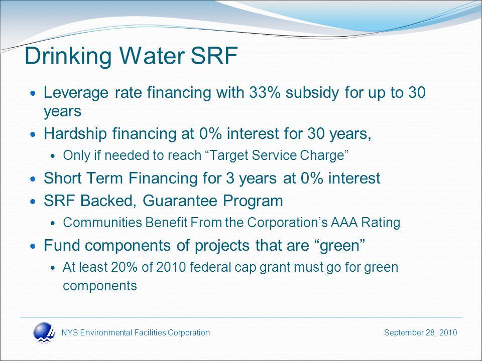 NYS Environmental Facilities Corporation September 28, 2010 How SRF Programs Work