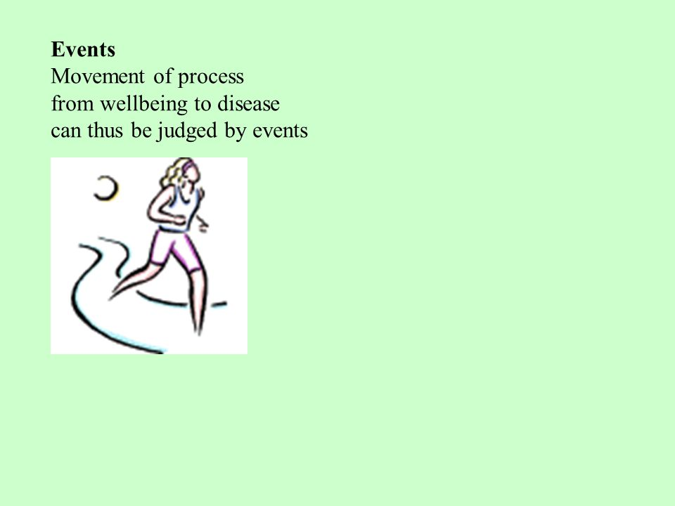 Events Movement of process from wellbeing to disease can thus be judged by events