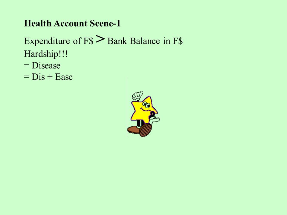 Health Account Scene-1 Expenditure of F$ > Bank Balance in F$ Hardship!!! = Disease = Dis + Ease