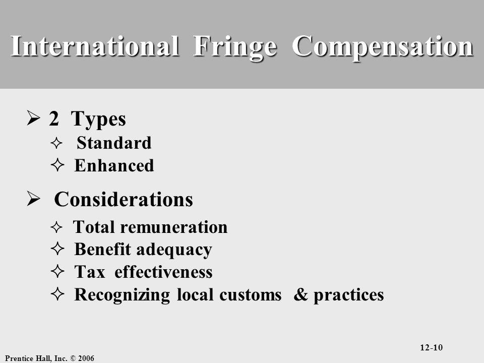 Prentice Hall, Inc. © 2006 12-10 International Fringe Compensation  2 Types  Standard  Enhanced  Considerations  Total remuneration  Benefit ade