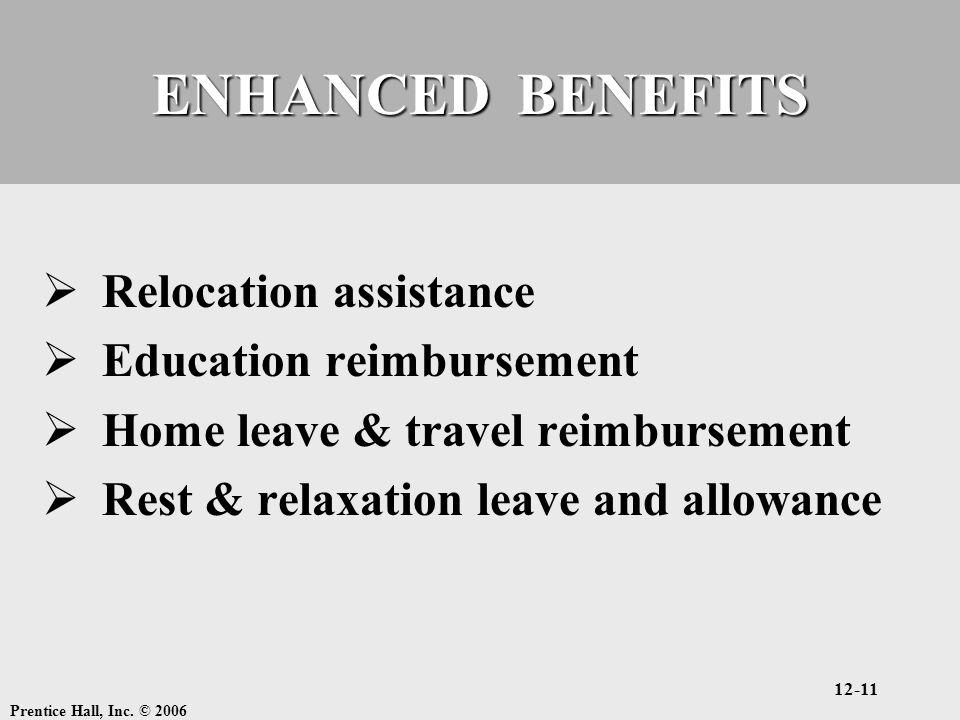 Prentice Hall, Inc. © 2006 12-11 ENHANCED BENEFITS  Relocation assistance  Education reimbursement  Home leave & travel reimbursement  Rest & rela