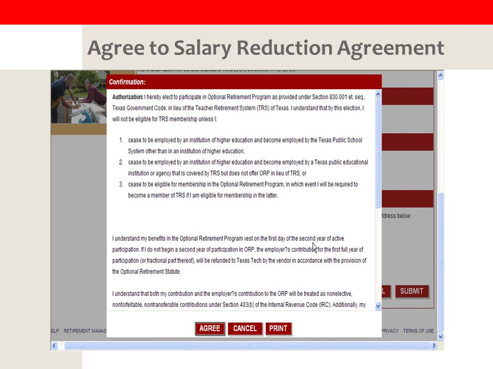 Agree to Salary Reduction Agreement