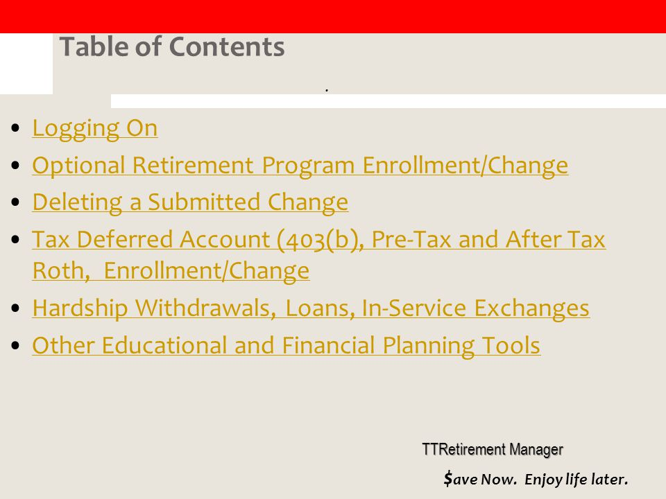 In-Service Exchange Certificate: TDA Account Only To produce an In-Service Exchange Certificate (to move/transfer money from one approved TDA vendor to another approved TDA vendor), go to My Savings Manager, click on Request a Withdrawal, select 403(b) and In-Service Exchange from the drop down boxes.