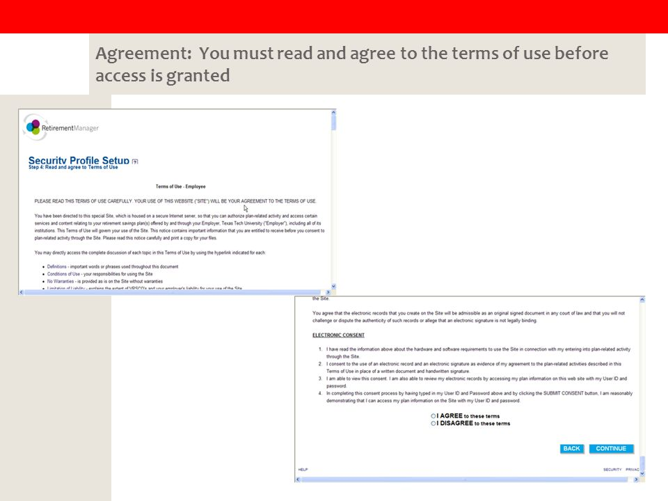 Agreement: You must read and agree to the terms of use before access is granted