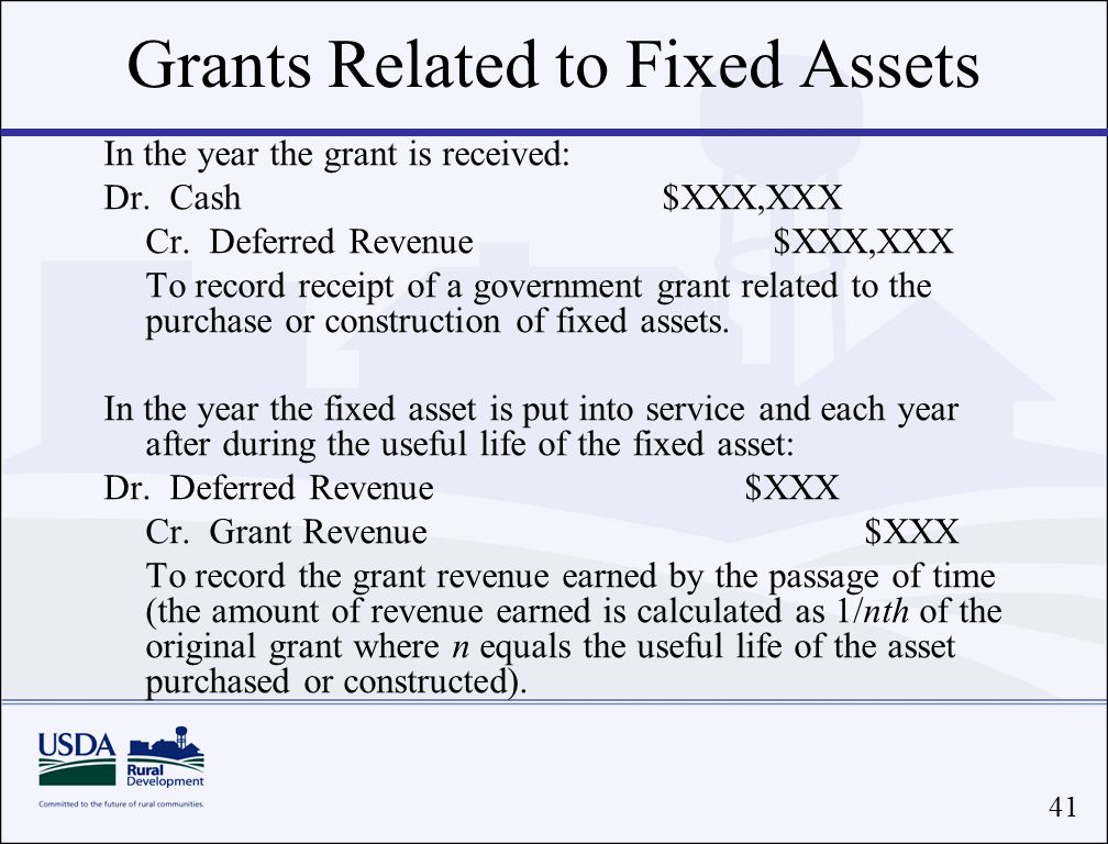 41 Grants Related to Fixed Assets In the year the grant is received: Dr.