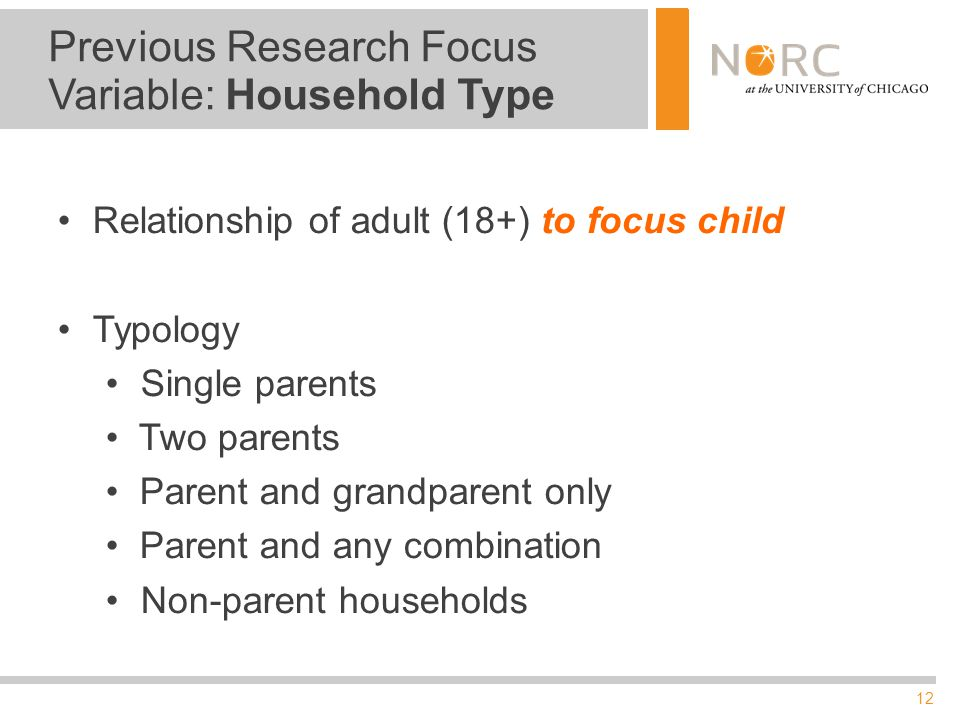 12 Previous Research Focus Variable: Household Type Relationship of adult (18+) to focus child Typology Single parents Two parents Parent and grandparent only Parent and any combination Non-parent households