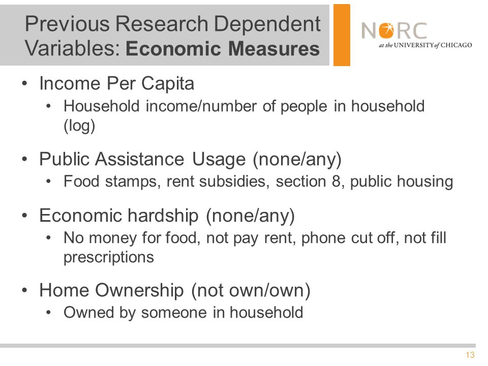 13 Previous Research Dependent Variables: Economic Measures Income Per Capita Household income/number of people in household (log) Public Assistance