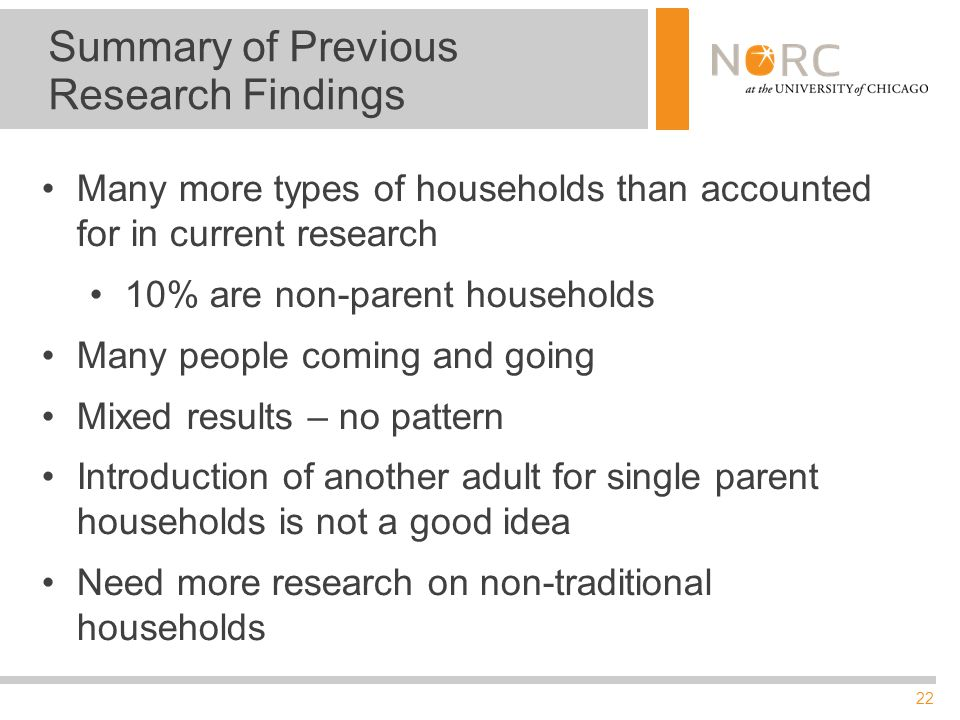 22 Summary of Previous Research Findings Many more types of households than accounted for in current research 10% are non-parent households Many peopl