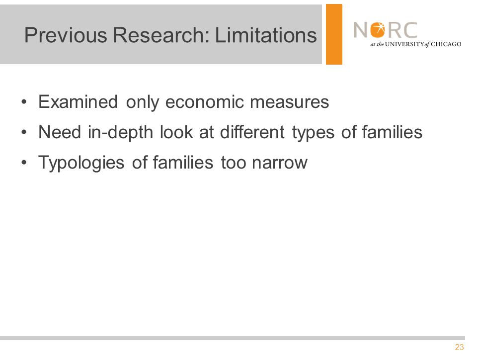 23 Previous Research: Limitations Examined only economic measures Need in-depth look at different types of families Typologies of families too narrow