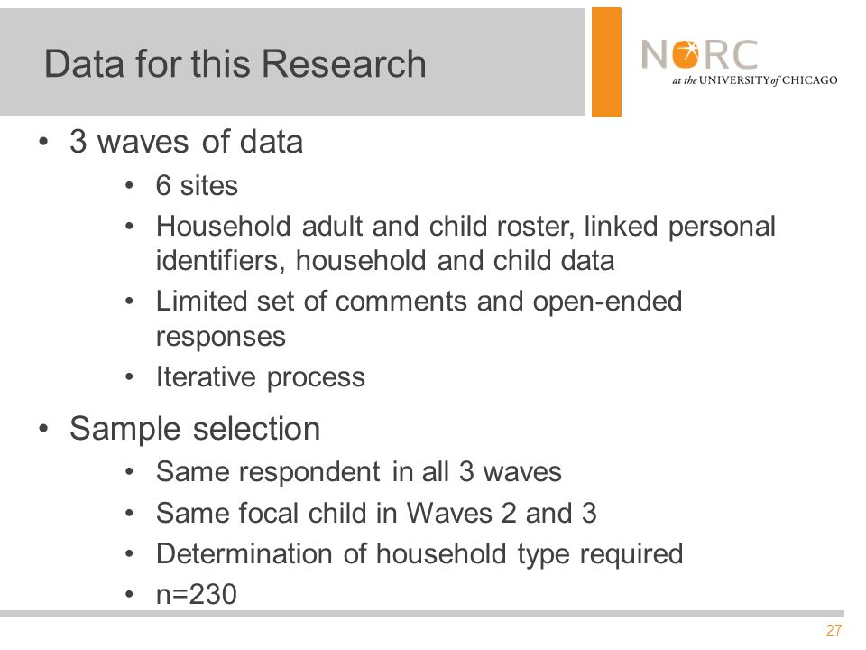 27 Data for this Research 3 waves of data 6 sites Household adult and child roster, linked personal identifiers, household and child data Limited set of comments and open-ended responses Iterative process Sample selection Same respondent in all 3 waves Same focal child in Waves 2 and 3 Determination of household type required n=230