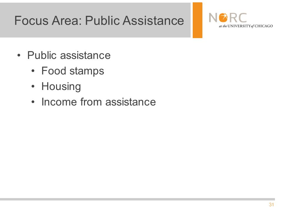 31 Focus Area: Public Assistance Public assistance Food stamps Housing Income from assistance