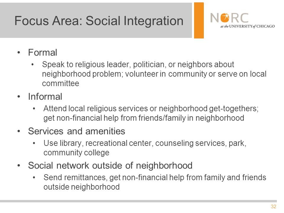 32 Focus Area: Social Integration Formal Speak to religious leader, politician, or neighbors about neighborhood problem; volunteer in community or serve on local committee Informal Attend local religious services or neighborhood get-togethers; get non-financial help from friends/family in neighborhood Services and amenities Use library, recreational center, counseling services, park, community college Social network outside of neighborhood Send remittances, get non-financial help from family and friends outside neighborhood