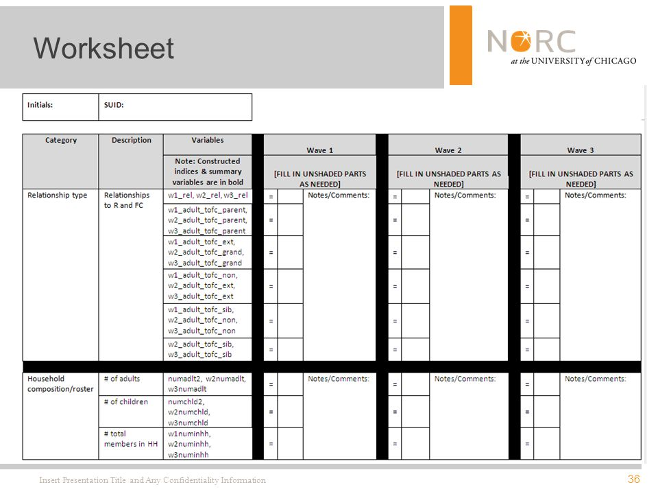 36 Insert Presentation Title and Any Confidentiality Information Worksheet
