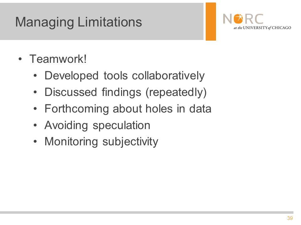 39 Managing Limitations Teamwork.