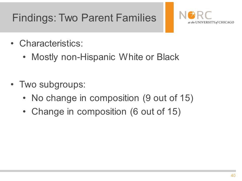40 Findings: Two Parent Families Characteristics: Mostly non-Hispanic White or Black Two subgroups: No change in composition (9 out of 15) Change in composition (6 out of 15)