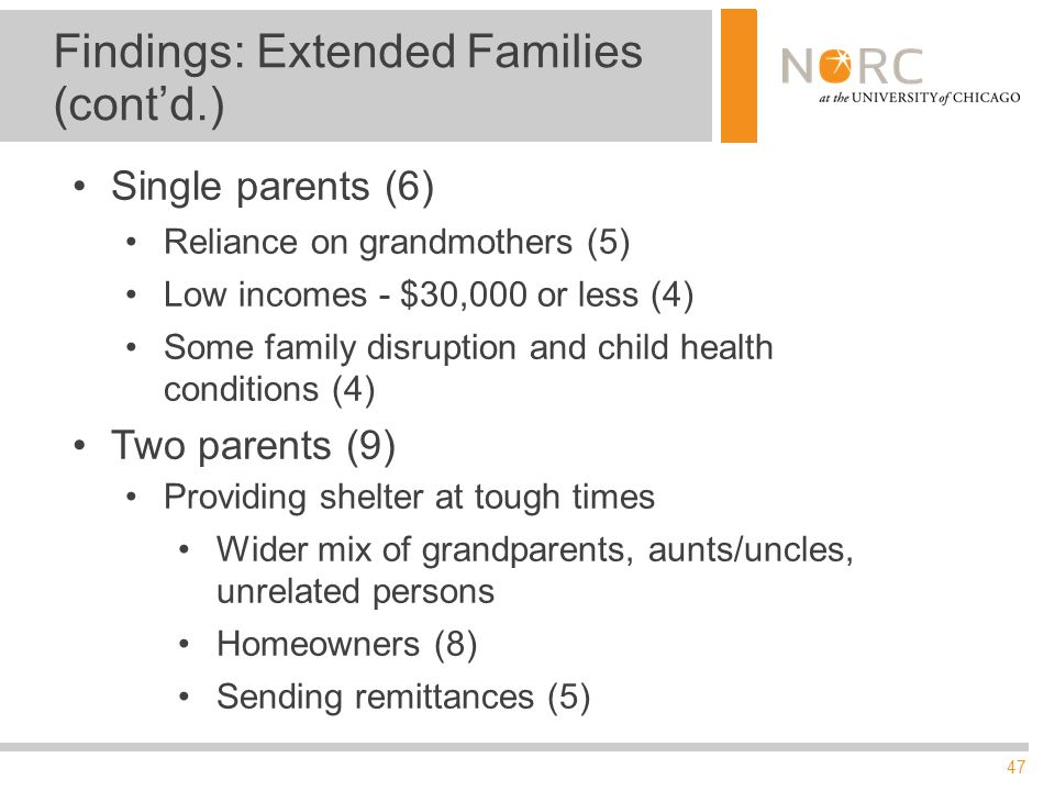 47 Findings: Extended Families (cont'd.) Single parents (6) Reliance on grandmothers (5) Low incomes - $30,000 or less (4) Some family disruption and